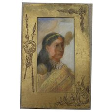 Charming late 19th century pastel drawing of Native American Indian girl