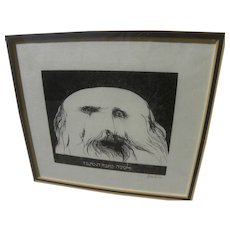 LEONARD BASKIN (1922-2000) etching of religious Jewish man by noted American artist and educator