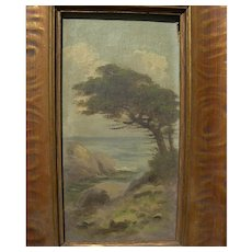 RICHARD DETREVILLE (1864-1929) small coastal landscape oil painting by Northern California artist