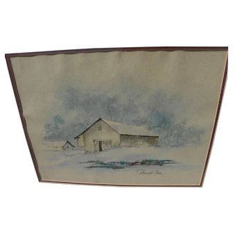 RANULPH BYE (1916-2003) watercolor painting of landscape with barn by noted Pennsylvania artist