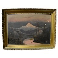 Northwest art late 19th century painting of volcano Barchus school style