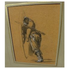 ISIDORE ALEXANDRE AUGUSTIN PILS (1813-1875) fine Crimean War battle drawing study by noted French artist