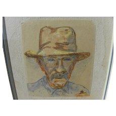 EDWARD BOREIN (1872-1945) watercolor self-portrait drawing by western art master