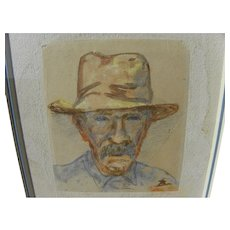 EDWARD BOREIN (1872-1945) watercolor self-portrait drawing by western art master