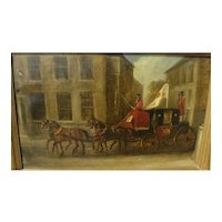 English 19th century coach and horses painting in style of Charles Cooper Henderson