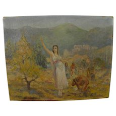 Southwest allegory signed painting possibly by illustrator Ben Mead (1902-1986)