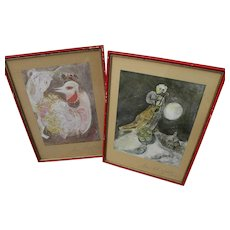 MARC CHAGALL (1887-1985) pair **hand signed** offset prints