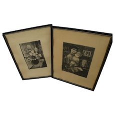Hungarian art pair pencil signed 1960's etchings