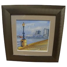 Canadian art contemporary signed watercolor painting of Vancouver Canada