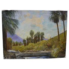 JAMES MERRIAM (1880-1951) California plein air art large oil painting of desert canyon wash