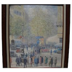 G. SHERMAN contemporary impressionist painting of street scene by popular auction level artist