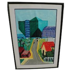 "DAVID HOCKNEY (1937-) offset lithograph print ""Hancock Street, West Hollywood"""