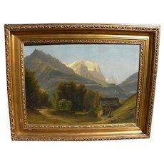 Antique painting of Wetterhorn peak in Switzerland signed and dated 1859
