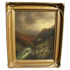 Yosemite California vintage landscape painting possibly by Hermann Herzog (1832-1932)