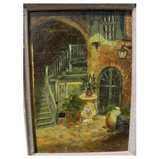 New Orleans Louisiana vintage impressionist painting of Brulatour Courtyard in French Quarter