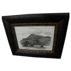 EMIL KOSA JR. (1903-1968) signed charcoal landscape drawing by the noted California artist