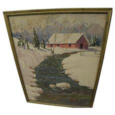 HOBART ALEXANDER WALKER (1869-1955) watercolor impressionist painting brook in heavy snow