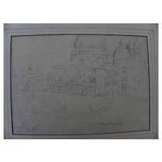 Vintage pencil drawing of Venice Italy with a modernist twist