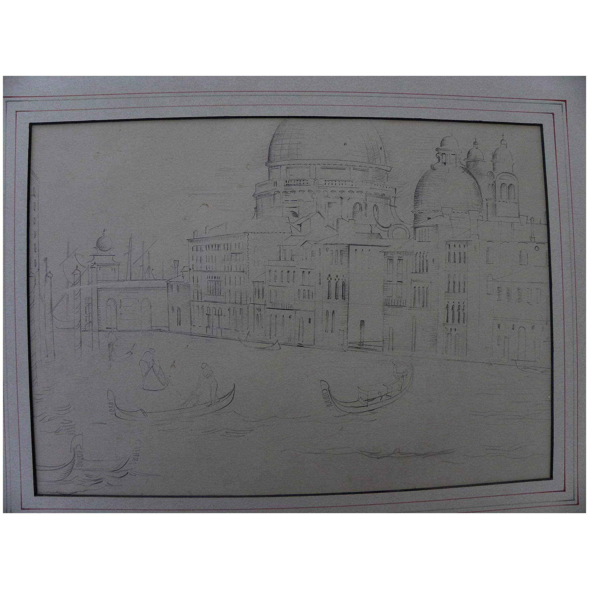 Vintage pencil drawing of venice italy with a modernist twist stolen
