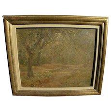 English 1908 small pretty impressionist landscape painting near Hampstead Heath
