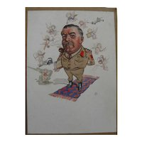 Caricature drawing of military officer signed with monogram