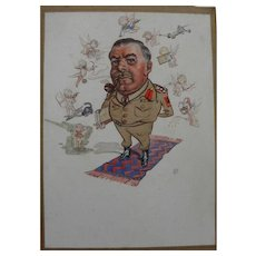 Caricature drawing of American military officer signed with monogram
