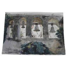 """ROGER FOLK (contemporary California) fine watercolor painting """"El Campanario"""" San Juan Capistrano Mission"""