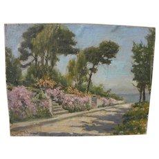WILLIAM ADAM (1846-1931) California plein air art impressionist painting of a sunny garden near the sea