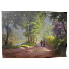Filipino art impressionist landscape painting of forest road signed Fernando Danni
