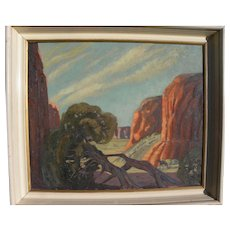 GAITHA BROWNING (1912-1992) painting of Southwest canyon landscape by Texas and New Mexico artist