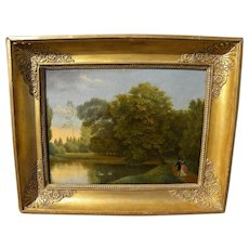 Circa 1840 antique French painting of lake in a park with swans and romantic couple