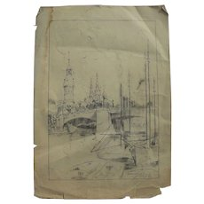 Old signed pencil drawing of mosque or church possibly Mediterranean or Black Sea