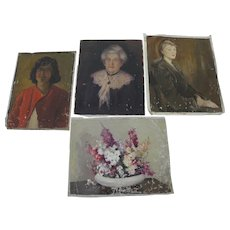 BERTHA TOWNSEND COLER (1865-1948) **four** unstretched canvas paintings by listed California woman artist