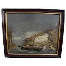 Small expressionist painting of house and boat **STOLEN**