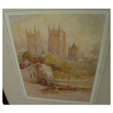 FEATHERSTONE ROBSON (1880-1936) vintage color print of famous York England cathedral **STOLEN**