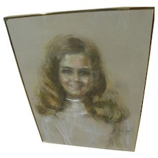 ARTIS LANE (1927-) pastel portrait drawing by noted African-American woman artist
