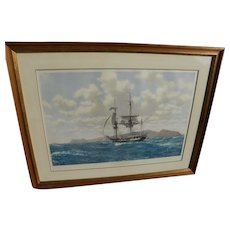 JOHN RUSSELL CHANCELLOR (1925-1984) marine art fine color print pencil signed by noted artist