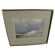 """JAMES ARCHIBALD MITCHELL III (1932-) American marine art watercolor painting """"Dunes, Cape Cod"""" **STOLEN**"""