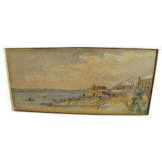 Bermuda early signed watercolor landscape painting dated 1895