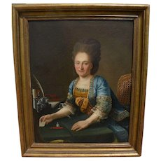 French 19th century classic painting of a young woman in 18th century style