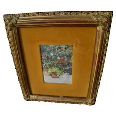 Watercolor painting of flowers and pots signed by Spanish artist dated 1876 London