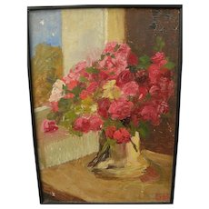 European vintage impressionist oil still life painting signed
