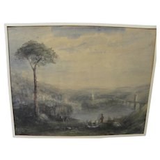 "Nineteenth century English watercolor painting after JMW Turner's 1832 ""Childe Harold's Pilgrimage"""