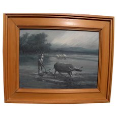 CESAR BUENAVENTURA (1922-1983) Filipino art impressionist painting of paddy rice farmer and water buffalo