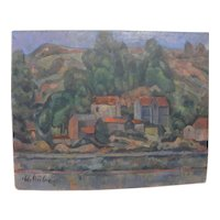 MAX EMANUEL HUBER (1903-1987) cubistic modern landscape painting by listed Swiss artist