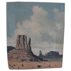 Vintage southwestern painting of Arizona desert Monument Valley