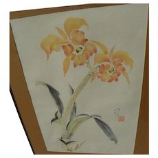 Chinese style contemporary watercolor painting of orchids signed J. London