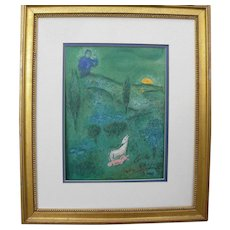 "MARC CHAGALL (1887-1985) **hand pencil signed** original print ""Lamon Discovers Daphnis"" 1961"