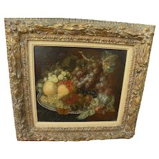 Old Master very antique still life painting fruits on a plate