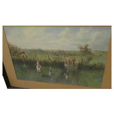 ALFRED VILLIERS FARNSWORTH (1858-1908) fine watercolor painting of the fox hunt by early California artist